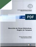 Informe Final 20-13 Dirección Obras Hidráulicas Tarapaca Auditoria de Infraestructura- Diciembre 2013