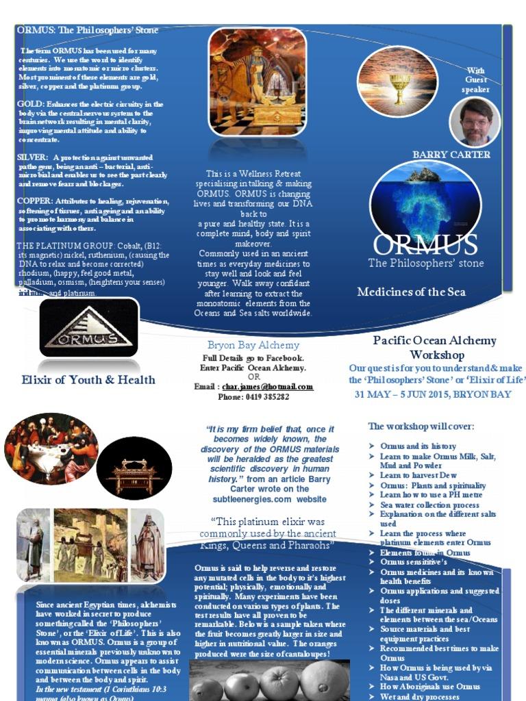 Ormus Foldout Flyer  PDF Version | Platinum | Alchemy