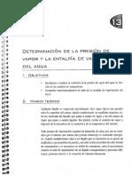 Guia DETERMINACIÓN DE LA PRESIÓN DE VAPOR Y LA ENTALPIA DE VAPORIZACION DEL AGUA
