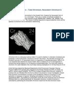 Chromium Speciation Total Chromium Hexavalent Chromium Trivalent Chromium