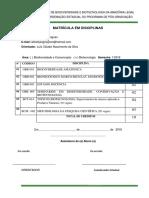 Formulário- Matricula Em Disciplina