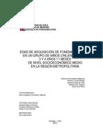 Edad de Adquisición de Fonemas Líquidos en Un Grupo de Niños Chilenos