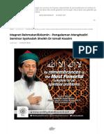 Magnet RahmatanlilAlamin - Pengalaman Menghadiri Seminar Syahadah Sheikh Dr Ismail Kassim