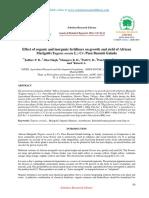 Effect of organic and inorganic fertilizers on growth and yield of African Marigold (Tagetes erecta L.) Cv. Pusa Basanti Gainda