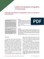 Notas sobre a prática de pesquisa etnográfica  no campo da Comunicação