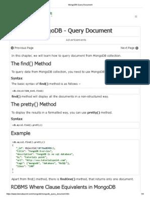 MongoDB Query Document pdf | No Sql | Mongo Db