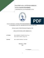 Tesis Evaluacion de La Inundacion Por Desborde Del Rio Chilca y de La Quebrada Chutana. Distrito de Pucusana. Lima. 2017.