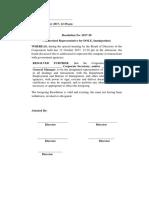 Sample Board Resolution (Authorized Representative DOLE)
