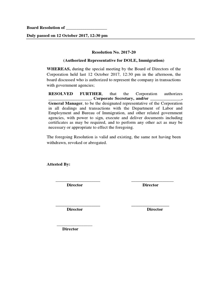 Board Resolution Authorized Signatory Template from imgv2-2-f.scribdassets.com