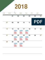 2018 calendar and schedule