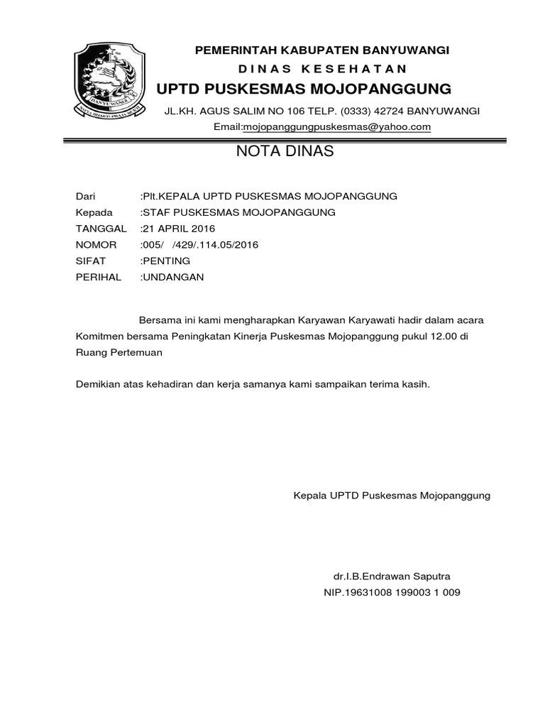 Nota Dinas Pkm Mojpanggung