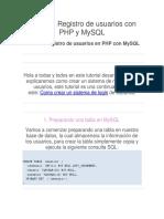 Crear Un Registro de Usuarios Con PHP y MySQL