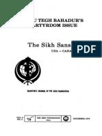 The Sikh Sansar USA-Canada Vol. 5 No. 4 December 1976 (Guru Tegh Bahadur's Martyrdom Issue)