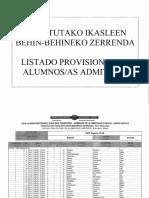 ZERRENDAK 2018/2019 LISTADO