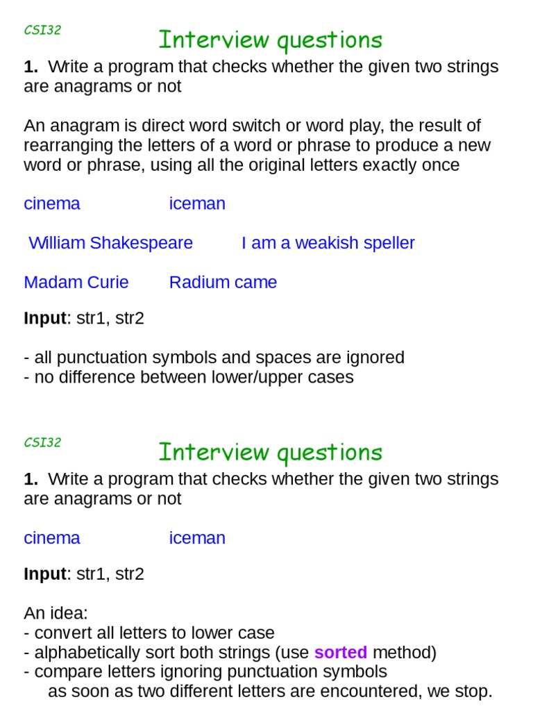 Csi32lecture26interviewquestions String Computer Science