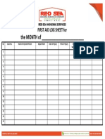 18. Monthly First Aid Log Sheet Blank