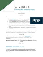 Ecuaciones de MRU