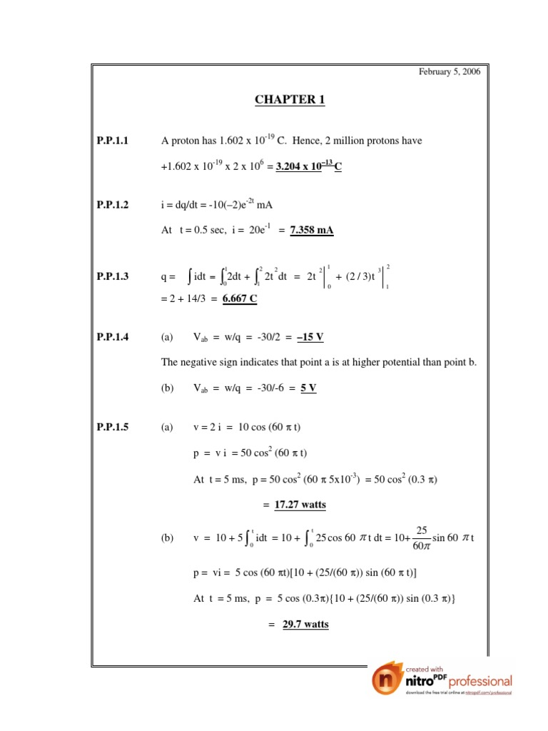 [Sadiku] Practice Problem Solution.pdf | Series And Parallel Circuits |  Electrical Circuits