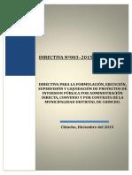 DIRECTIVA N° 003-2015 MDCH PROYECTOS Y EJECUCION