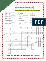 Cruzadinhas com Adição Subtração Multiplicação e Divisão