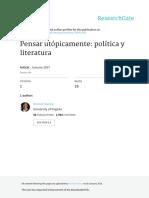 Pensar Utopicamente Politica y Literatura