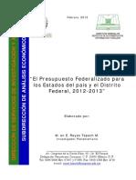 Reyes T. 2013. Presupuesto Federalizado