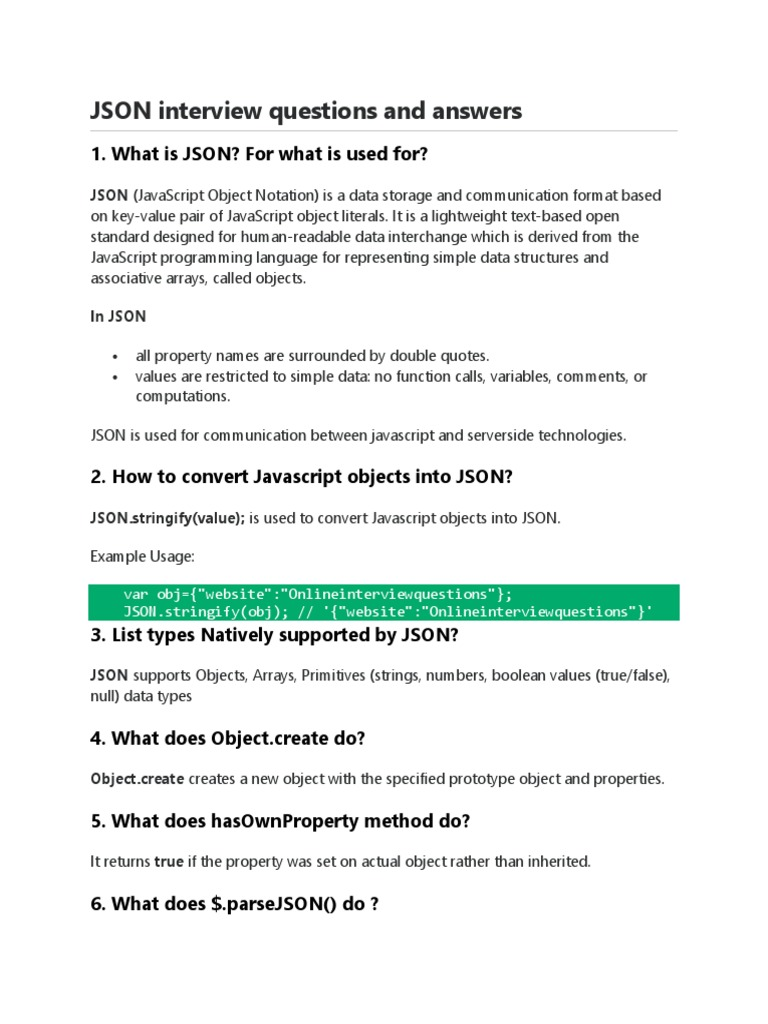 JSON Interview Questions and Answers   Json   Java Script