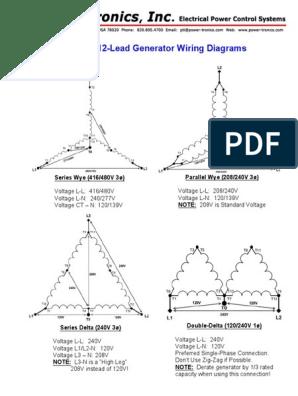 Common 12 Lead Generator Wiring Diagrams Series Wye 416 480v 3o Parallel Wye 208 240v 3o