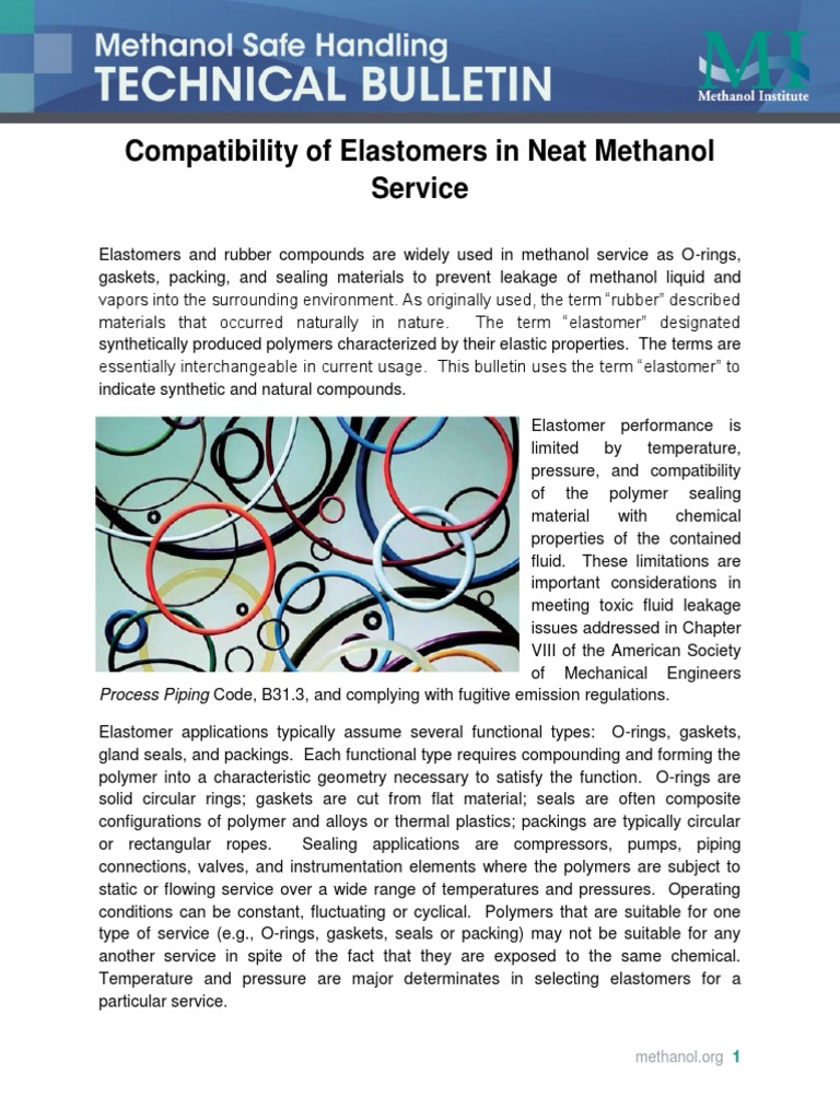 Compatibility-of-Elastomers-in-Neat-Methanol-Service pdf | Polymers