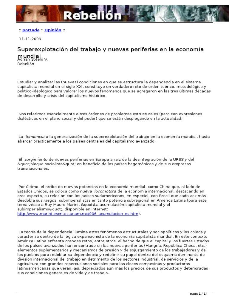 Adrián Sotelo Superexplotación Del Trabajo Y Nueva Periferia