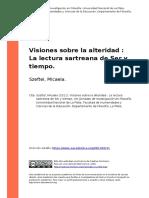 Szeftel, Micaela (2011). Visiones Sobre La Alteridad La Lectura Sartreana de Ser y Tiempo