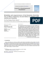 Reliability and responsiveness of the Bruininks–Oseretsky Test of Motor Proficiency-Second Edition in children with intellectual disability