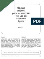 Algunos Criterios Para La Seleccion y El Uso de Concreto Ligero
