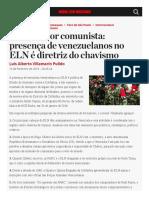 Artigos Narcoterror Comunista Presenca de Venezuelanos No Eln e Diretriz Do Chavismo