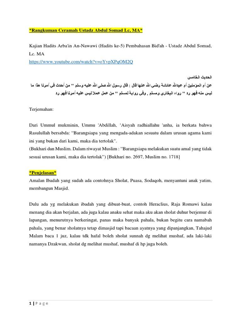 Rangkuman Ceramah Ustadz Abdul Somad Lc