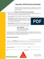 Welding Certification Program Guidelines and Declaration
