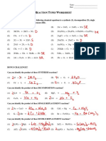 12 - reaction types worksheet key