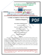 A Study on Employee Morale in Exports of Private Limited at Bangalore