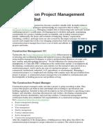 Construction Project Management Checklist