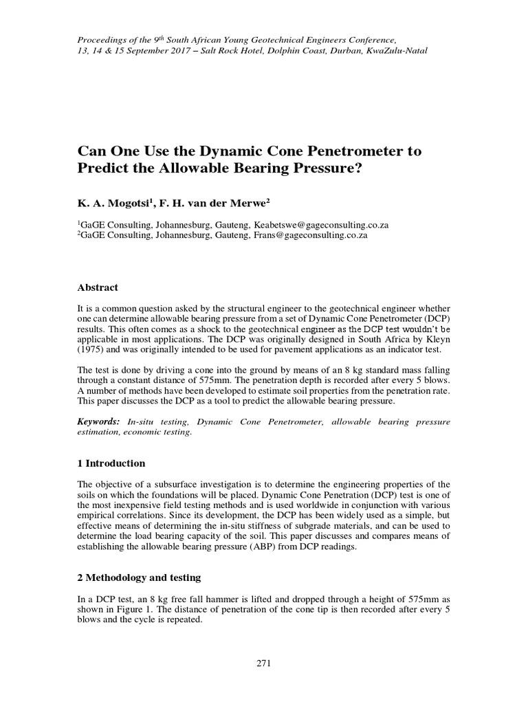dynamic cone penetrometer allowable lateral bearing pressure