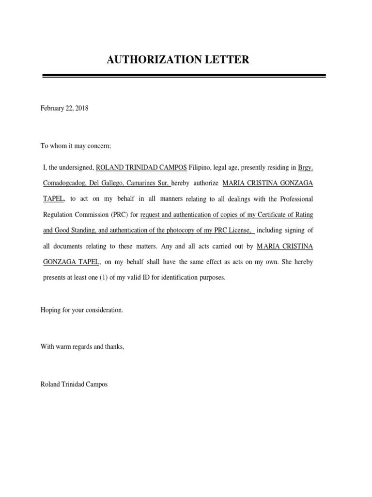 Authorization Letter PRC RENEWAL
