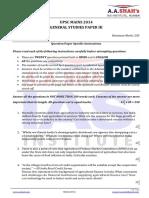 General Studies Paper 3 (2014)