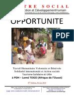 Opportunité de Travail Humanitaire Volontaire Et Bénévole à PDH Lomé TOGO 8ème Edition Février 2018