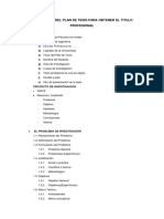 Estructura Del Plan de Tesis Para Obtener El Titulo Profesional