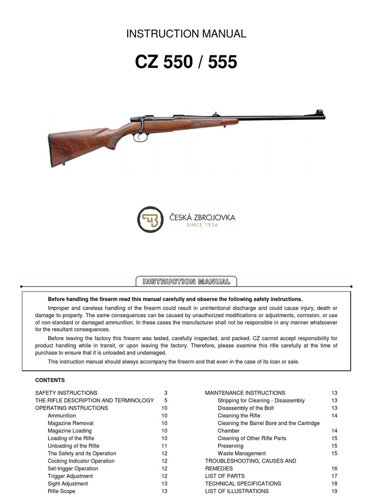 CZ 550 Rifle Owners Manual copy