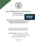 Aislamiento Caracterizacion y Usos Potenciales de Microorganismos de Tierra de Montaña y Subtropico 2016 by Lopes and Escobar