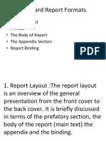 Standard Report Formats