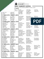 March 3, 2018 Yahrzeit List