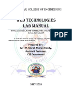 WebTechnologies Lab Manual Prepared by M. Murali Mohan Reddy
