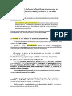 El Proceso de Institucionalización de Un Posgrado en Metodología de La Investigación en Cs